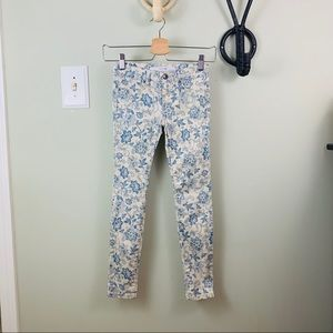Joes | Cream & Blue Floral Pattern Skinny Jeans